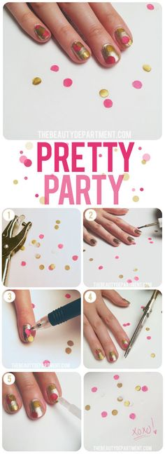 1.Punch out tissue paper circles. Put about 5-7 pieces on top of each other to get a good solid punch.   2.Paint the base of the nails with any color you want.    3.Use a pen to pick up the pieces of confetti and lay them down on the wet nail polish.