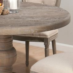Burnt Grey Kitchen Table  Renaissance Round Table & Oval Back Chairs Jofran 856-48