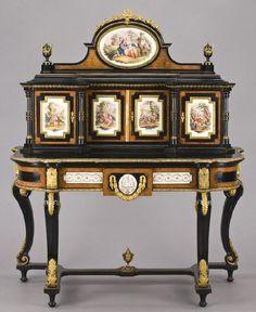 196: Napoleon III bonheur-du-jour with KPM porcelain : Lot 196