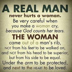 never raise your hand, or your not a man