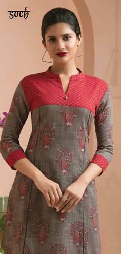 This masterfully crafted coral cotton straight kurti suit is guaranteed to give your wardrobe a well-deserved boost. Flaunt this outfit and be prepared for the flurry of compliments heading your way. Source by clothes kurti Salwar Designs, Simple Kurti Designs, New Kurti Designs, Kurta Designs Women, Kurti Designs Party Wear, Kurti Sleeves Design, Kurta Neck Design, Dress Neck Designs, Blouse Designs