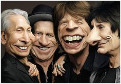 The rolling stones Picture caricature) The Rolling Stones, Funny Caricatures, Celebrity Caricatures, Celebrity Portraits, Digital Art Gallery, Famous Cartoons, Stone Pictures, Satire, Funny Faces