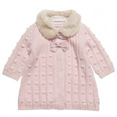 Simonetta Baby Girls Pale Pink Knitted Coat With Fur Collar at Childrensalon.com
