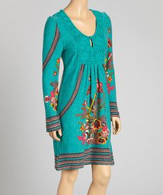 Another great find on #zulily! Brown & Pink Floral Lace Yoke Dress #zulilyfinds
