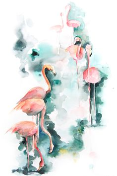 Flamingo Watercolor Painting Art Print 12x18 Abstract Emerald Pink Bird Wall Art by CanotStopPrints on Etsy https://www.etsy.com/listing/209679122/flamingo-watercolor-painting-art-print