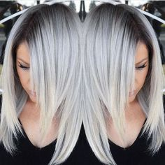 Stunning Silver hair color design with dark shadow root by @makeupbyfrances #multifaceted #multidimensional #hotonbeauty