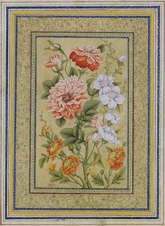 Mirza Aga Emami میرزا آقا امامی نگارگر تولد: 1260 درگذشت: 1356 STUDY OF FLOWERS SIGNED MIRZA AGA IMAMI, IRAN, 19TH CENTURY Gouache on paper, in illuminated borders, mounted on card 14 1/8 x 11¼in. (35.8 x 28.5cm.)