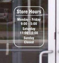 Custom Vinyl Decal Door Store Business Open by CanadianBuzzard Cafe Window, Window Signage, Business Hours Sign, Business Signs, Cafe Design, Sign Design, Glass Onion, Cofee Shop, Shop Signage