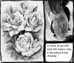 Roses, the tattoo and picture on shoulder