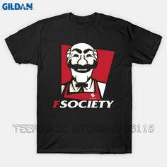 Gildan Personalized T Shirts Short Sleeve Men Printing Fsociety Crew Neck Shirt #Affiliate