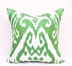 Ikat pillow cover Green white