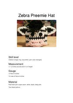 zebra preemie hat**
