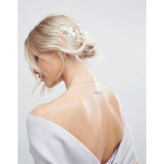 ASOS BRIDAL Mini Flower Back Hair Garland ($13) ❤ liked on Polyvore featuring accessories, hair accessories, white, white flower garland, flower garland, white floral crown, party garland and bride hair accessories