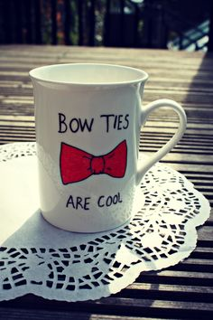 Bow Ties are cool mug by Mr Teacup.Person that pinned this before me didn't get the Doctor Who connection. The Doctor, Eleventh Doctor, Doctor Who, Tardis, Don't Blink, Cool Mugs, Thats The Way, Dr Who, Mug Shots