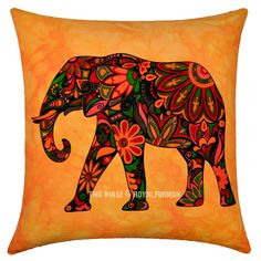 Orange Asian Elephant Tie Dye Hippie Decorative Throw Pillow Cover 16X16 Inch on RoyalFurnish.com, $5.99