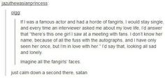 just calm down a second there satan. Tom Hiddleston should do this. Tumblr Posts, My Tumblr, Tumblr Funny, Just Keep Walking, Jm Barrie, Funny Quotes, Funny Memes, 9gag Funny, Fandoms