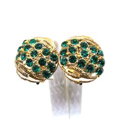 Green Earrings - Vintage, STAR Signed, Emerald Greed Rhinestones, Clip-on Earrings by MyDellaWear on Etsy