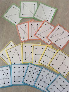 Raamfiguren oefenen met opdrachtkaarten: in 4 niveaus volgens het aantal punten. Om na te leggen met stokken, op een krijtbord of op papier *liestr*
