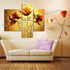 Handmade 4 Piece Canvas Art  Oil Painting Wall Pictures For Living Room Wall Modern Flower Pictures Modern Home Decoration $35.9