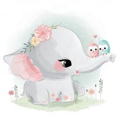 Cute Cartoon Elephant And Balloons Illustration Cute Elephant Drawing, Baby Animal Drawings, Cartoon Elephant, Cute Drawings, Cute Baby Elephant, Elephant Trunk, Hand Drawing Designs, Cartoon Mignon, Baby Animals