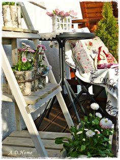 taras, dom, ogród, wiosna, wnętrze, dodatki Dom, Ladder Decor, Home Decor, Decoration Home, Room Decor, Interior Decorating