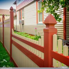 Tan and Barn Red PVC Vinyl Privacy Fence by @illusionsfence. Match Your Fence To Your House. #fenceideas #homeideas #backyardideas #landscapingideas #fence