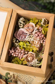 【両親への贈呈品】ピンクローズグリーンナチュラル フラワーフォトボックス【感謝状】