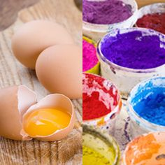 Egg tempera paint is made by combining egg yolks, which act as a binder, with colored powdered pigments in approximately equal amounts.