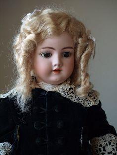 "26"" Antique Handwerck with Adorable Velvet Coat and Antique Dress,$610.00"