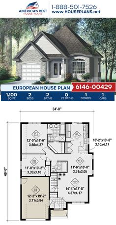 Check out Plan 6146-00429, a 1,100 square foot European house plan with 2 bedrooms, 2 bathrooms, an open floor plan, and a 1 car garage. View more about this house plan on our website. European Plan, European House Plans, Thing 1, Old World Charm, Building Materials, Square Feet, Countryside, Facade, Floor Plans
