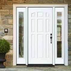 9 Panel Primed White Left Hand Steel Prehung Front Door With 12 In Clear Glass Sidelites 6 In Wall White Primer