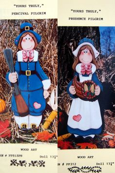 Percival And Prudence Pilgrim Wood Art Pair By Mary Helen Gould Tole And Decorative Painting by NeedANeedle, $14.75