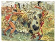 artist's vision of battle between Achilles and Hector