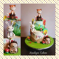 Woodland cake Toddler Birthday Cakes, Cake Birthday, Fox Cake, Woodland Cake, Fondant Animals, Animal Cakes, Wedding Cake Stands, Woodland Nursery Decor, Cute Cakes