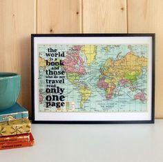 Plakát v dřevěném rámu World Is A Book Map Print   Bonami
