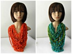 nuovissimi scaldacollo/collana in  colori luminosi wool necklace-neckwarmer  in…