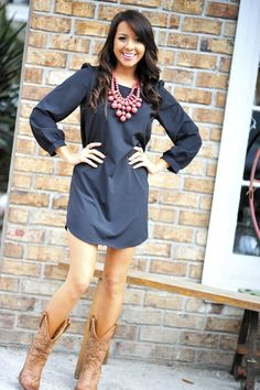 Navy dress, statement necklace & cowboy boots! Love!