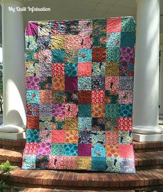 "My Quilt Infatuation: Anna Maria Horner Dowry quilt, simple quilt using 8"" blocks which is a great size for wonderful prints"