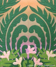"close up, ""Remembering the Island of Hawaii"" by Fumiyo Sano (Gotemba, Shizouka, Japan).  2013 Houston IQF.  Photo by Quilt Inspiration. Design by Kathy Nakajima."