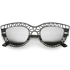 8a2b51e604 Unique Laser Cut Out Cat Eye Sunglasses With Color Mirrored Lens 48mm