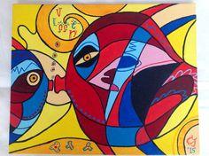 Peces, acryl op canvas, 24x30, 2015 (kadootje voor Tonky)