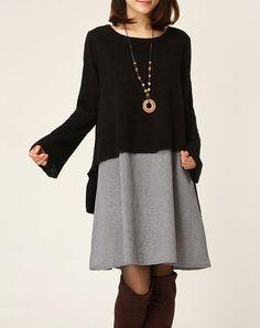 Sweater dress Knitwear cotton dress large knitted sweater long women casual loose sweater blouse plus size sweater coat cotton blouse -Black...
