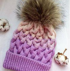 Модная женская шапка косами с подробным описанием, схемой вязания, инструкцией, фотографиями. Шапка бини косами. Вязание вкруговую спицами снизу вверх. Cute Beanies, Knitting For Kids, Beanie Hats, Knitted Hats, Winter Hats, Handmade, Baby, Beanies, Hand Made