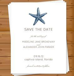 PRINTABLE - Save the Date, Coastal Theme, Starfish, Beach Wedding, Destination Wedding. $12.00, via Etsy.