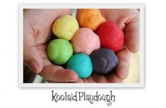 13 Kool Aid Inspired Crafts - Great ideas on crafting with koolaid (huge stash left from yarn dying project with nieces)- love the play dough