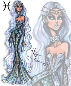 Hayden Williams Fashion Illustrations — 'Seeing Signs' by Hayden Williams - Pisces Hayden Williams, Arte Fashion, Diva Fashion, Paper Fashion, Zodiac Art, Zodiac Signs, 12 Zodiac, Astrology Signs, Signes Zodiac