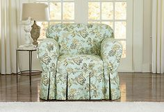 Sure Fit Slipcovers Casablanca Rose by Waverly<sup><small>TM</small></sup> One Piece Slipcovers - Chair Furniture Slipcovers, Dining Chair Slipcovers, Loveseat Sofa, Furniture Covers, New Furniture, Armchair, Shabby Chic Dining Chairs, Sure Fit Slipcovers, New Home Wishes