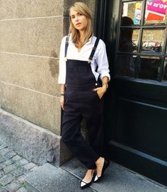 Overalls + Button-Up | 7 Ways to Make Your Button-Up Look Chic | http://www.hercampus.com/style/7-ways-make-your-button-look-chic
