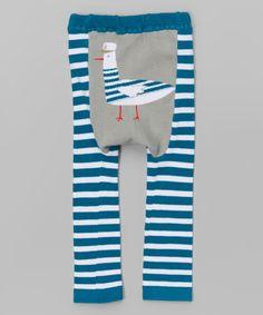 Look at this #zulilyfind! Blue Stripe Captain Feathers Leggings - Infant #zulilyfinds