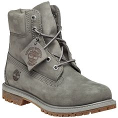 TIMBERLAND Premium 6 Inch Mono Boot Grey Nubuck ($160) ❤ liked on Polyvore featuring shoes, boots, grey, laced up boots, grey shoes, front lace up boots, nubuck boots and gray lace up boots